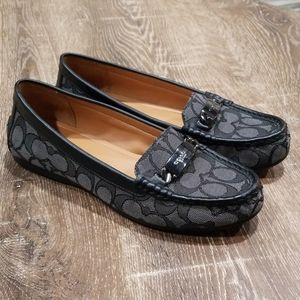 """Coach Olive black & gray signature """"c"""" loafer 7.5"""